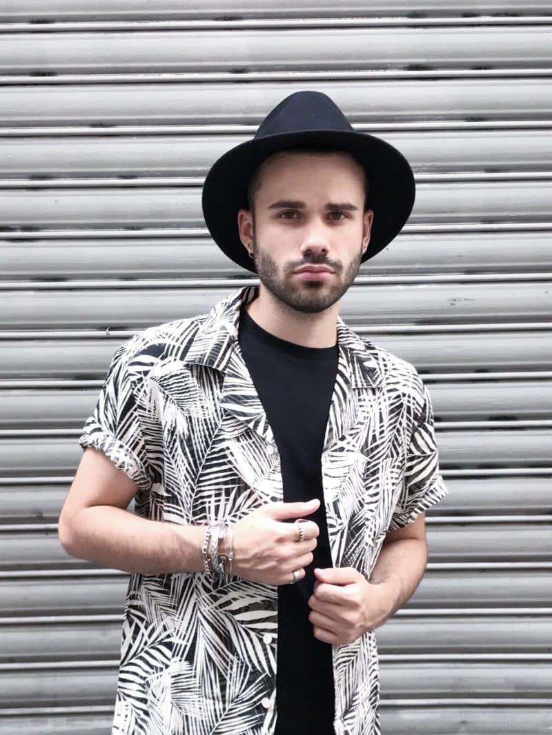 chemise motifs palmiers homme