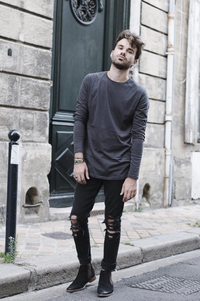 zanerobe-t-shirt-manche-longue-homme-jean-déchiré-newlook
