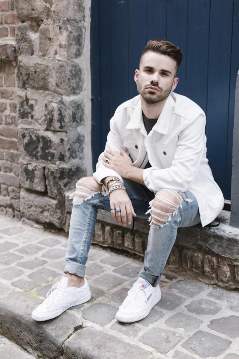 veste jean blanche homme influenceur reebok
