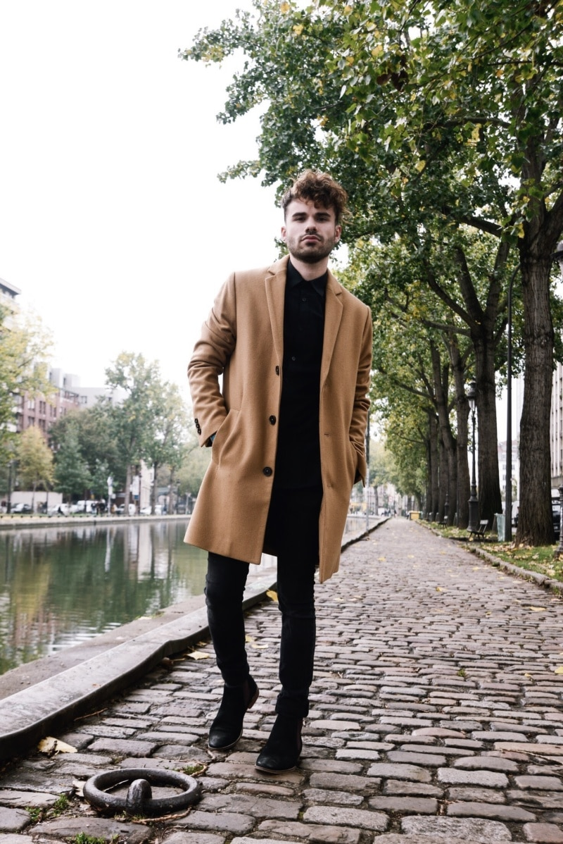 Manteau femme masculin camel