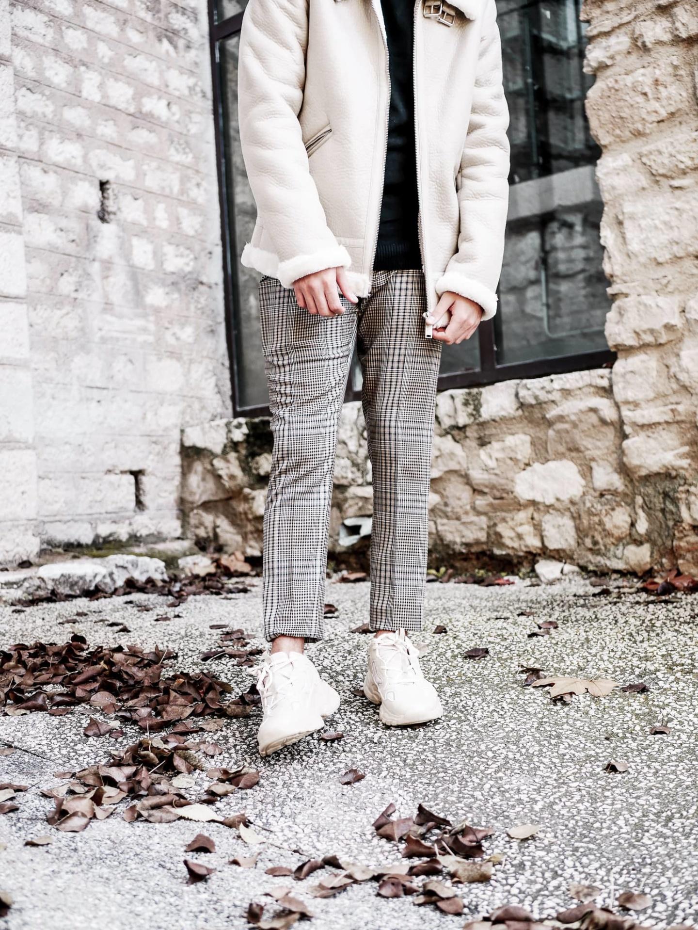 pantalon motifs pieds de poule